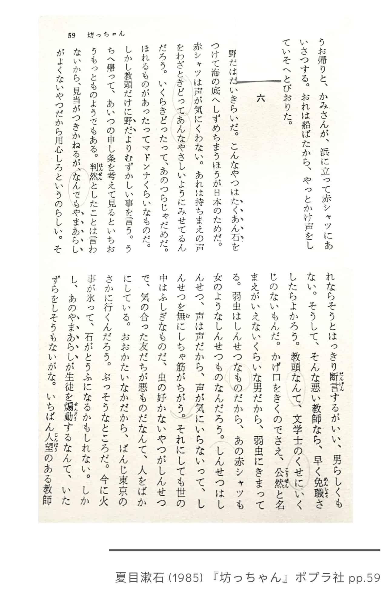 Botchan, Chapter Six Intro, pp.59